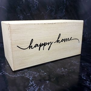 Happy Home White Distressed Tabletop Block Decor